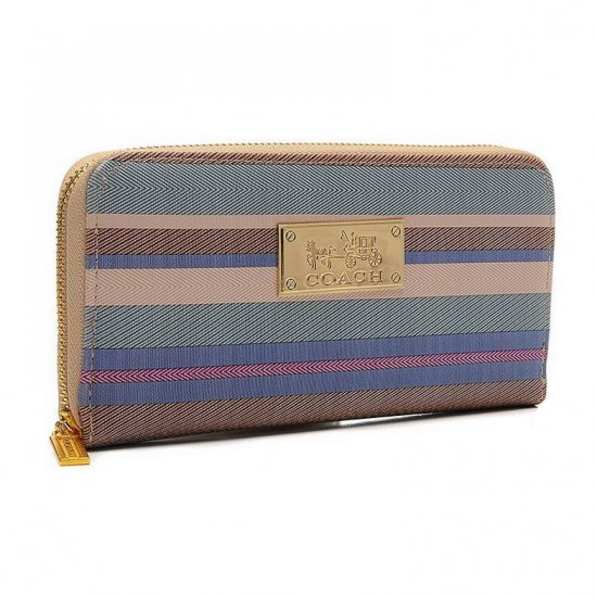 Coach Poppy Striped Large Apricot Multi Wallets EVD