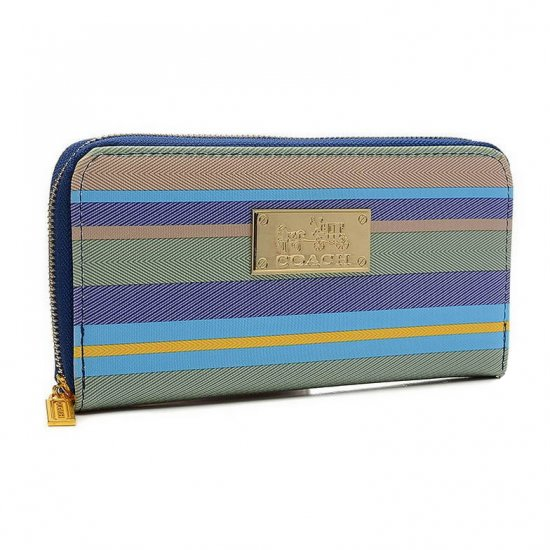 Coach Poppy Striped Large Blue Multi Wallets EVF