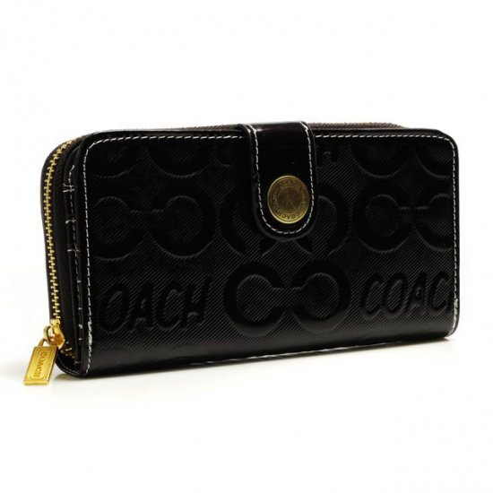Coach Logo Large Black Wallets BCO