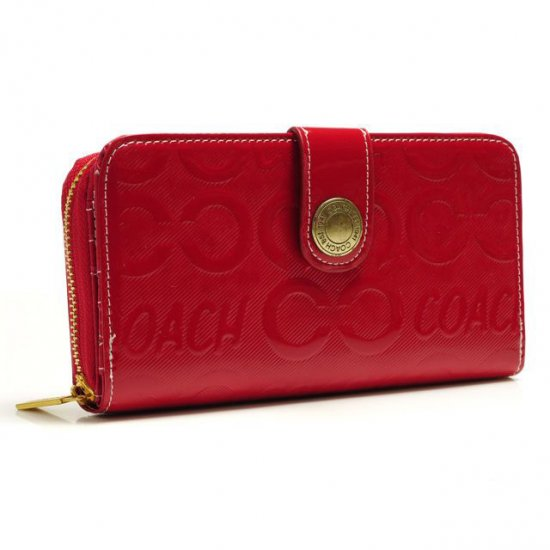 Coach Logo Large Red Wallets BCR