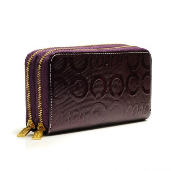 Coach In Signature Large Purple Wallets ARU