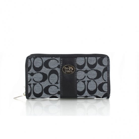 Coach Zippy Logo Signature Small Grey Wallets FER
