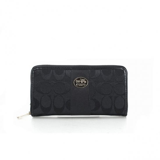 Coach Zippy Logo Signature Small Black Wallets FES