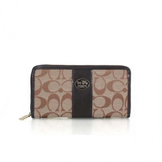 Coach Zippy Logo Signature Small Apricot Wallets FET