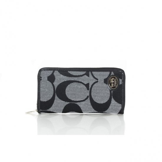 Coach Big Logo Signature Small Grey Black Wallets FEX