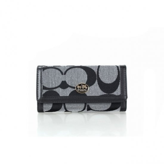 Coach Envelope Big Logo Small Grey Black Wallets FEY