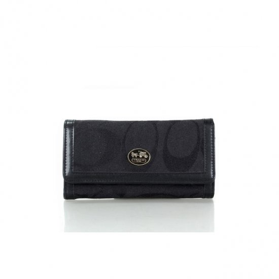 Coach Envelope Big Logo Small Black Wallets FFB