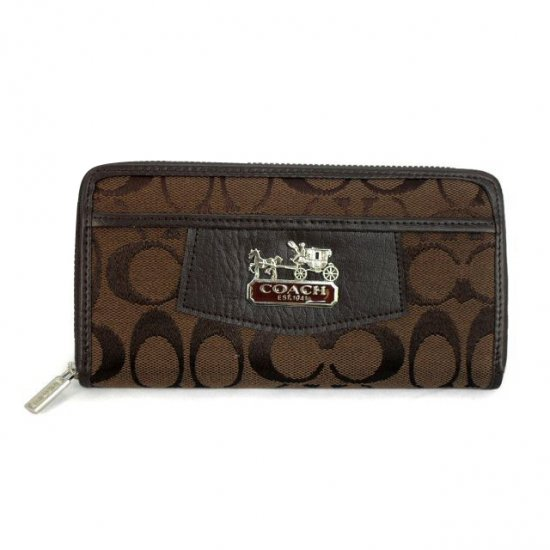 Coach Logo Signature Large Coffee Wallets EEW