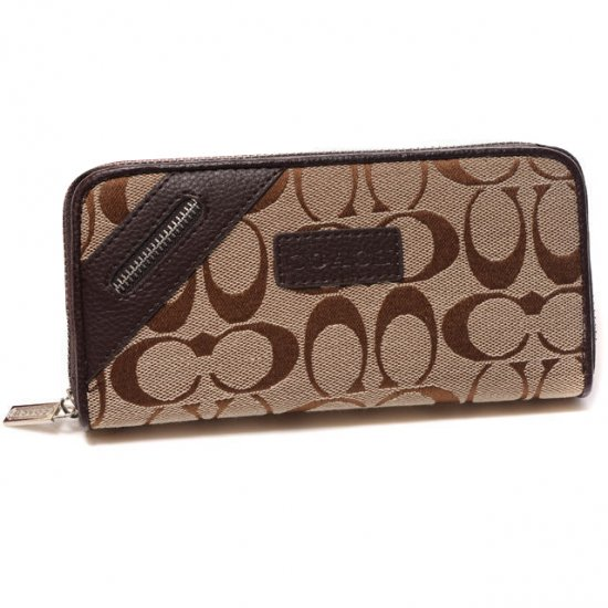 Coach Zip In Signature Large Coffee Wallets DUG