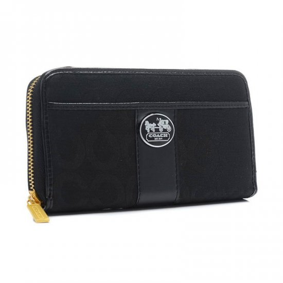 Coach Legacy In Signature Large Black Wallets BVQ