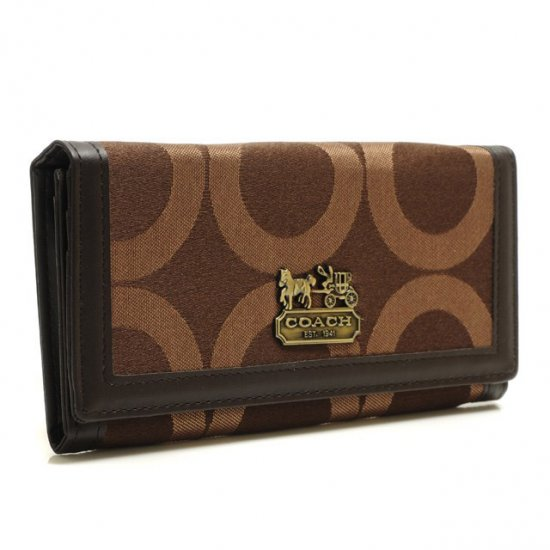 Coach Legacy Legacy Logo Signature Large Coffee Wallets BRU