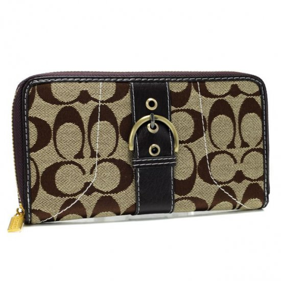 Coach Buckle In Signature Large Coffee Wallets AXF