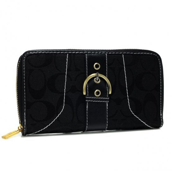 Coach Buckle In Signature Large Black Wallets AXJ