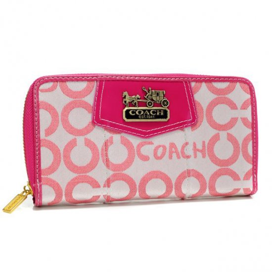 Coach In Signature Large Fuchsia Wallets AXK
