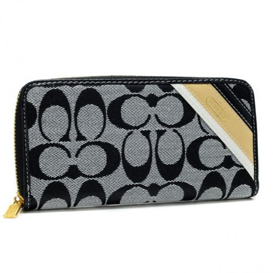 Coach Legacy Stripe In Signature Large Grey Wallets AHH