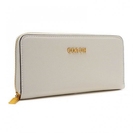 Coach Accordion Zip In Saffiano Large White Wallets EUQ