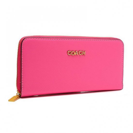 Coach Accordion Zip In Saffiano Large Pink Wallets EUT