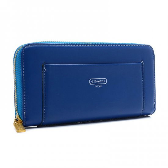 Coach Madison Accordion Saffiano Large Blue Wallets EGB