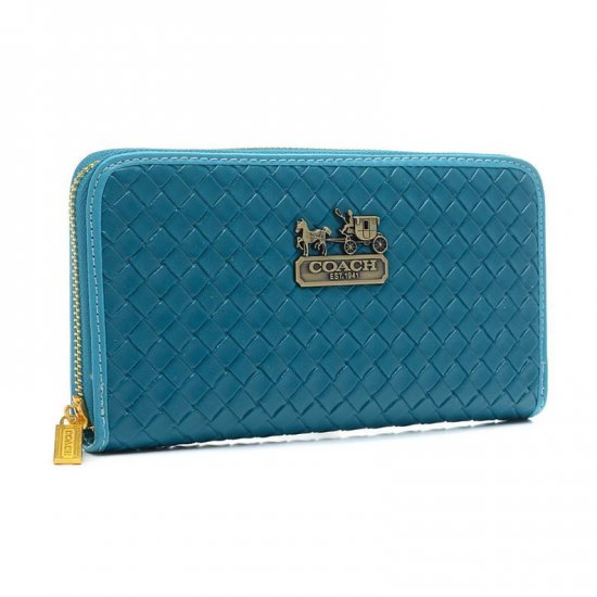 Coach Knitted Logo Large Blue Wallets EGH