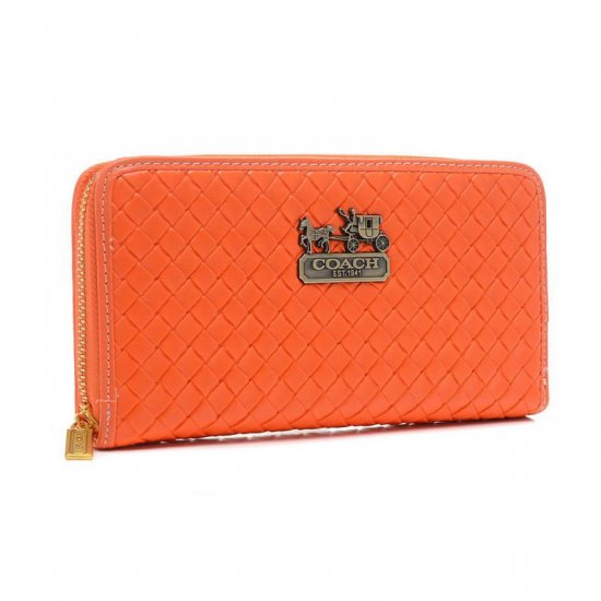 Coach Knitted Logo Large Orange Wallets EGL
