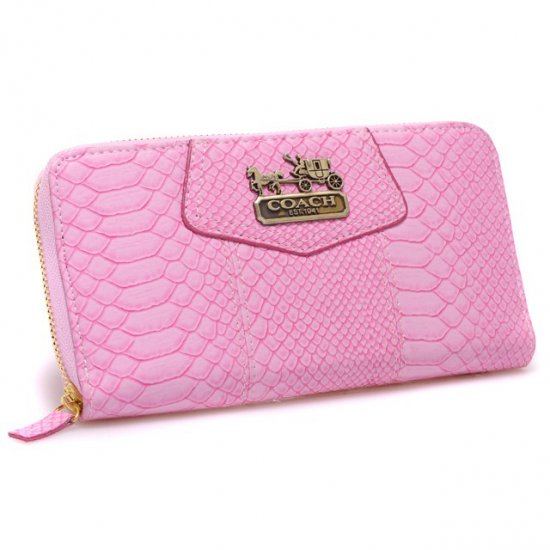 Coach Accordion Zip In Croc Embossed Large Pink Wallets CCM