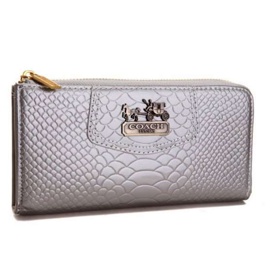 Coach Madison Continental Zip In Croc Embossed Large Silver Wallets AGK