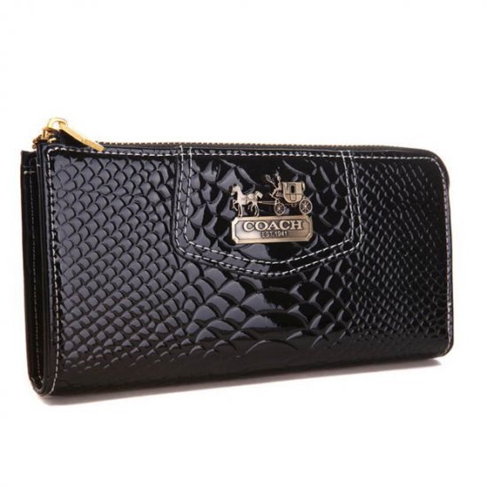 Coach Madison Continental Zip In Croc Embossed Large Black Wallets AGL