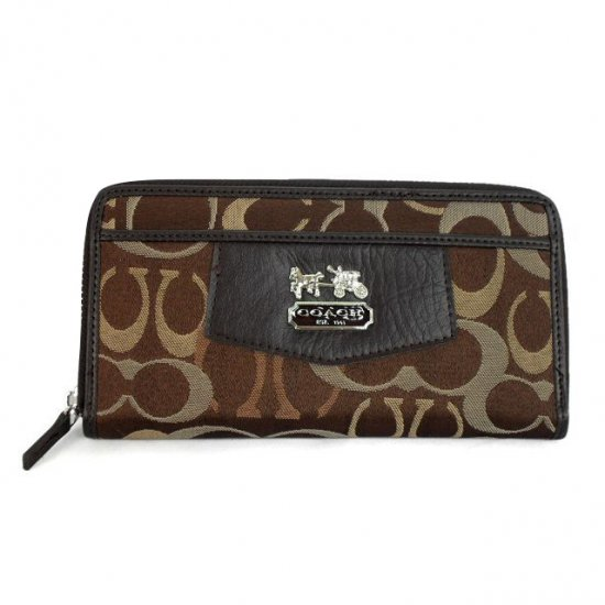 Coach Logo Signature Large Coffee Wallets EEO