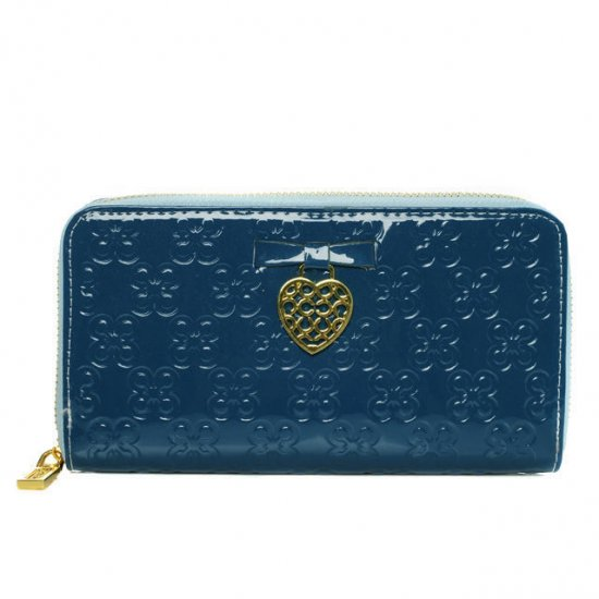Coach Waverly Hearts Accordion Zip Large Blue Wallets DVI