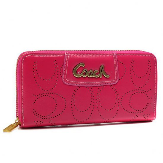 Coach Perforated Logo Large Fuchsia Wallets AXS