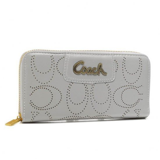 Coach Perforated Logo Large Grey Wallets AXT