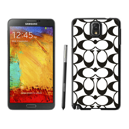 Coach Big Logo Black White Samsung Note 3 Cases DRM