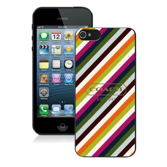 Coach Stripe Multicolor iPhone 5 5S Cases AUH