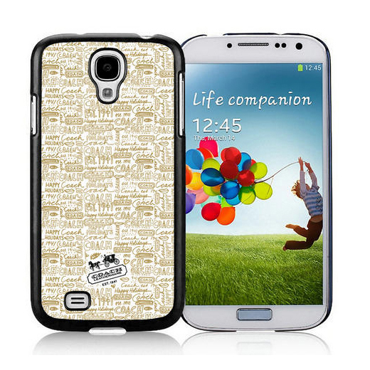 Coach Fashion Logo Khaki Samsung Galaxy S4 9500 AUU