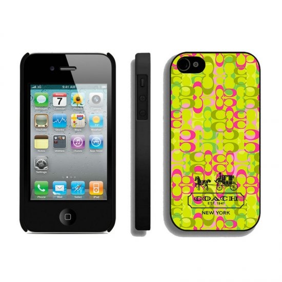Coach In Confetti Signature Green iPhone 4 4S Cases AIP