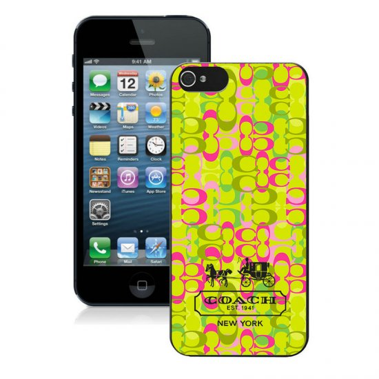 Coach In Confetti Signature Green iPhone 5 5S Cases AIZ