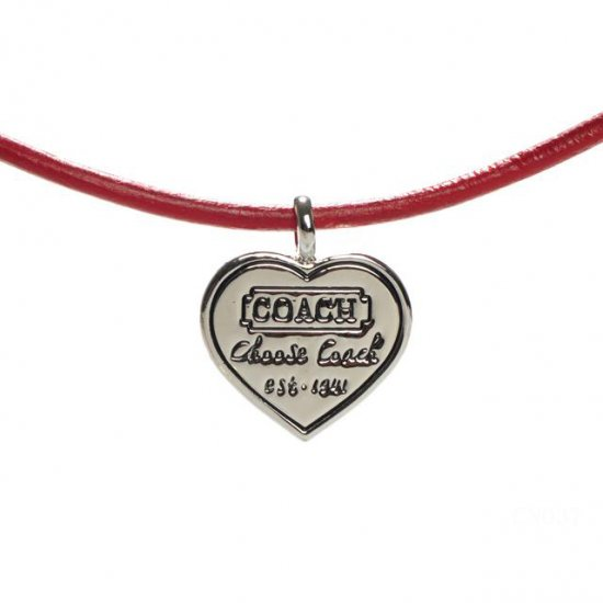 Coach Heart Logo Red Necklaces CXP