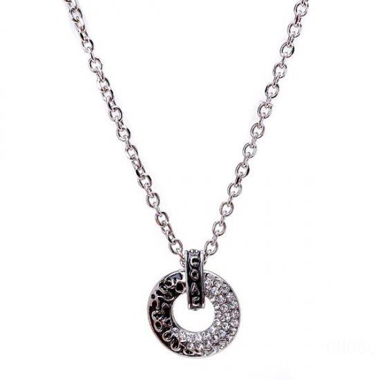 Coach Logo Circle Silver Necklaces CYF