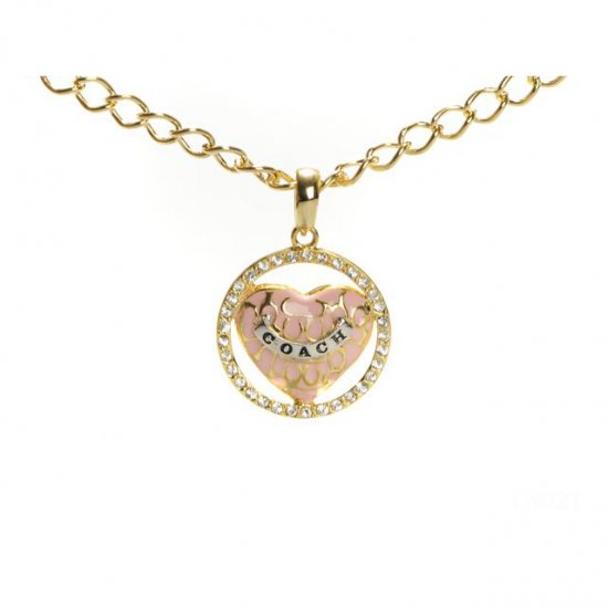 Coach Logo Heart Gold Necklaces CYM