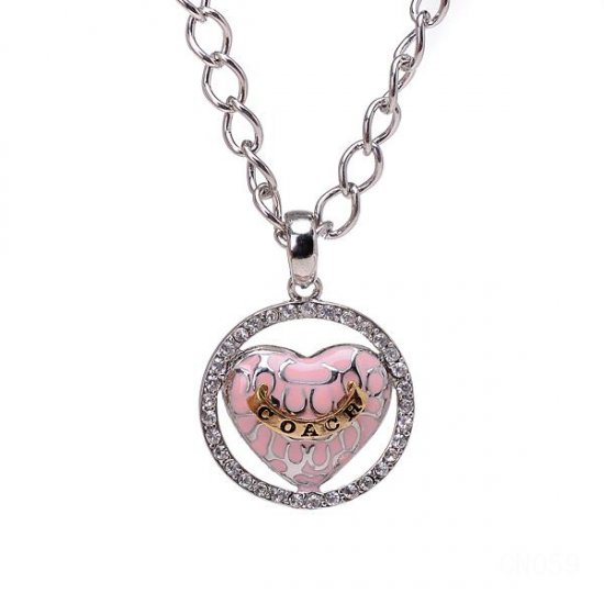 Coach Logo Heart Silver Necklaces CYN