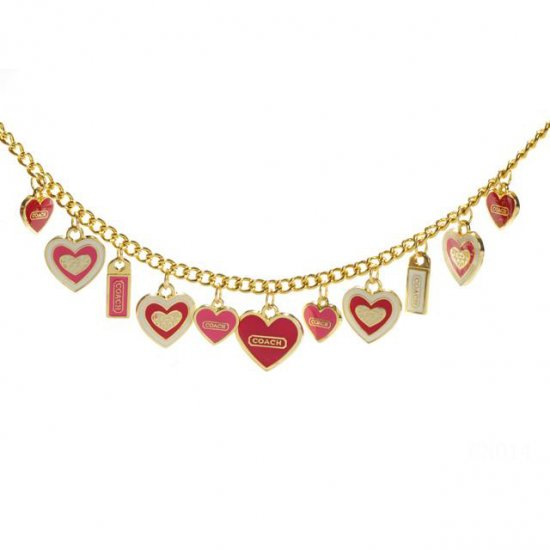 Coach Heart Float Gold Necklaces CYS