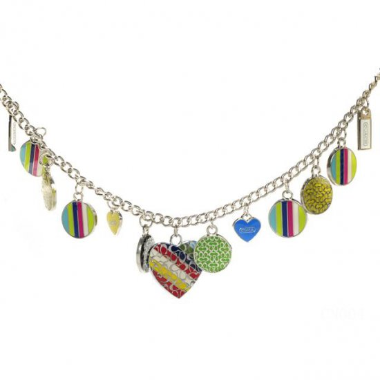 Coach Stripe Heart Silver Necklaces CYU