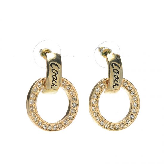 Coach Diamond Circle Stud Gold Earrings AKA