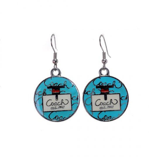 Coach Logo Blue Earrings AKF