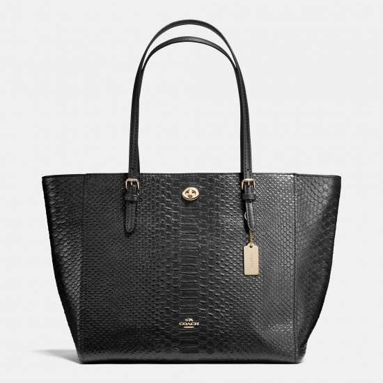 TURNLOCK TOTE IN SNAKE EMBOSSED LEATHER