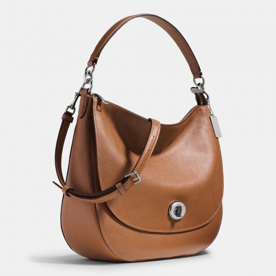 TURNLOCK HOBO IN PEBBLE LEATHER