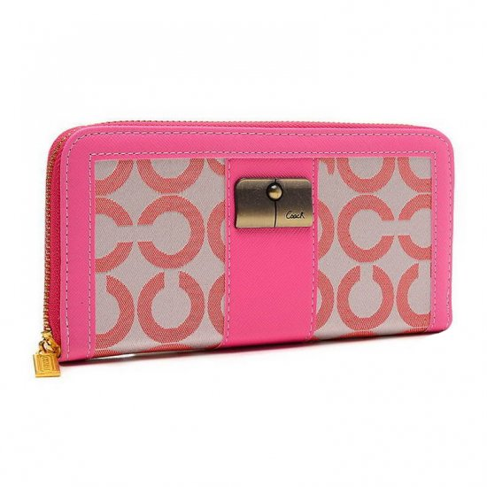 Coach Kristin Lock In Signature Large Pink Wallets ETH