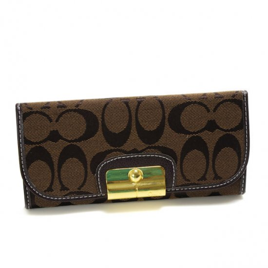Coach Kristin In Signature Large Coffee Wallets DVL