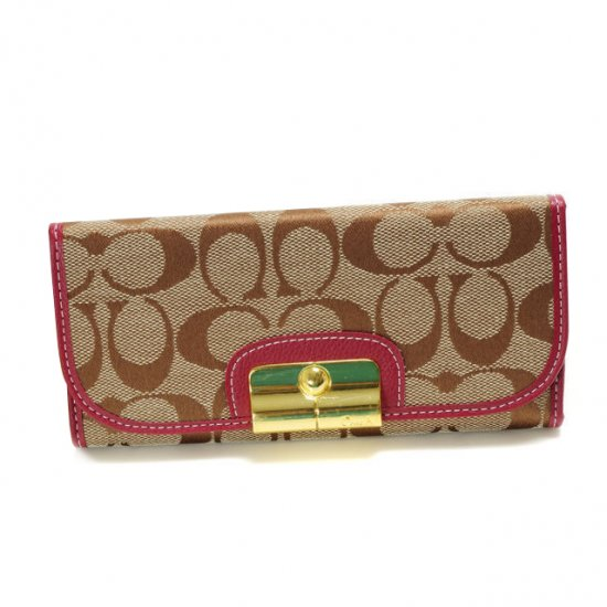 Coach Kristin In Signature Large Fuchsia Wallets DVO