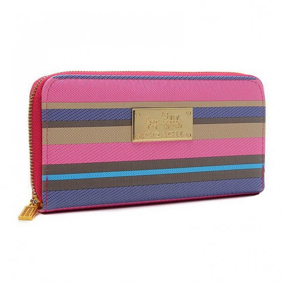 Coach Poppy Striped Large Pink Multi Wallets EVC
